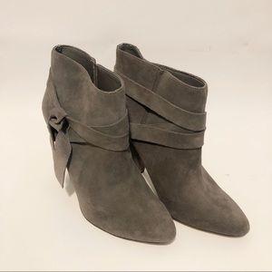 Nine West Gray Suede Leather Booties Sz 9 1/2 9.5